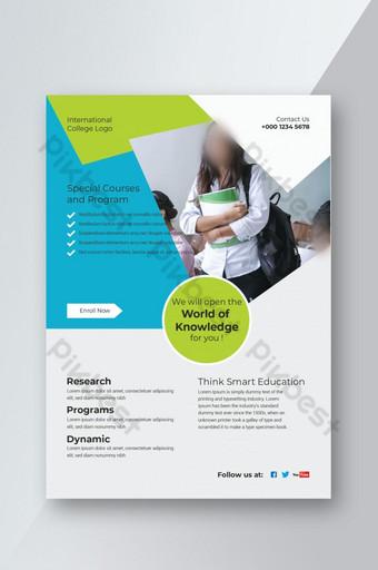 Conception de flyer d'éducation conception de flyer bleu vert conception de flyer propre Modèle AI