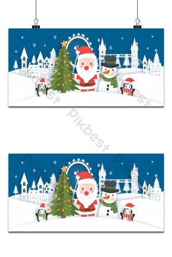 Fondo de banner navideño con santa claus y amigos en la aldea de nieve, corte de papel Modelo EPS