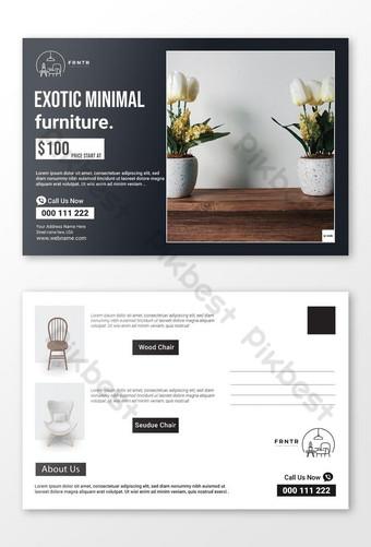Modèle de carte postale d'identité d'entreprise de meubles propres minimes Modèle AI