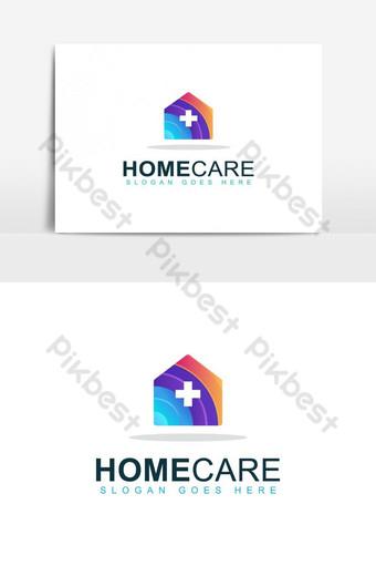 colorido diseño de logotipo de atención médica en el hogar Elementos graficos Modelo AI