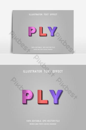 capa roja rosa azul fácil de editar colorido moderno único diseño de efecto de texto vectorial Elementos graficos Modelo EPS