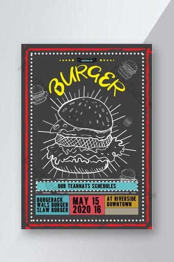 folleto promocional festivo de hamburguesa roja amarilla Modelo PSD