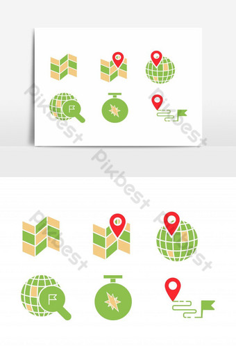 geo location icon set with map, pin, world with pin, location searching, compass PNG Images Template EPS