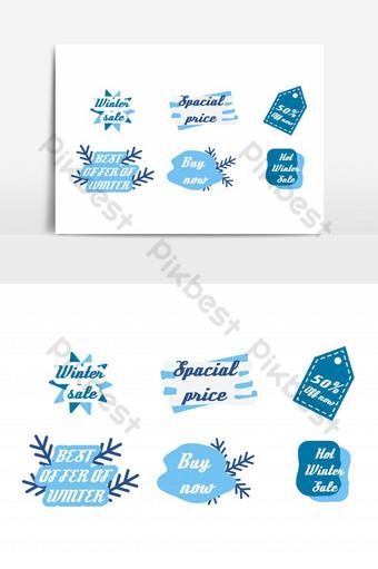 icono de venta de invierno con etiqueta de copos de nieve y formas personalizadas Elementos graficos Modelo EPS