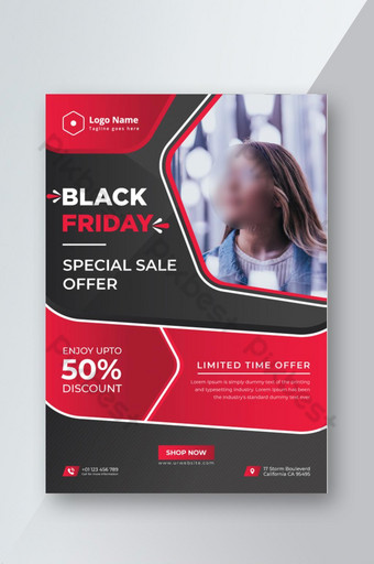 Hot Modern Abstract Creative Professional Black Friday Offre spéciale de vente Flyer moderne Modèle AI