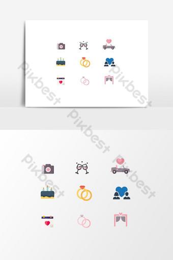 vector creativo y decorativo romántico boda plana iconos diseño gráfico Elementos graficos Modelo EPS