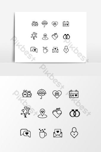 vector png negro iconos de boda romanticos y decorativos diseño gráfico Elementos graficos Modelo EPS