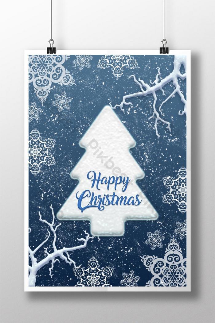 冬季風格聖誕快樂海報
