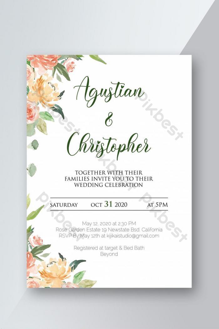 可打印的新鮮婚禮邀請模板