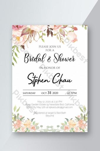 دعوة زفاف قابلة للطباعة مع قالب بطاقة الزهور قالب PSD