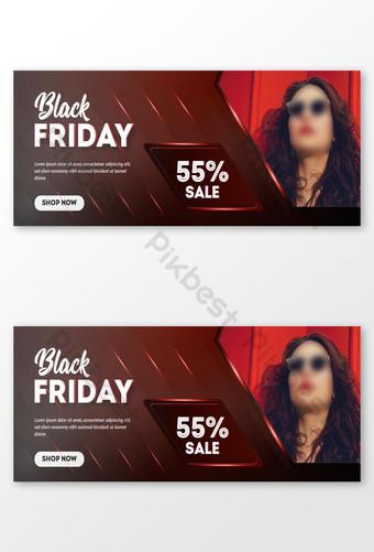 Diseño de banner de venta de viernes negro con fondo degradado abstracto rojo Modelo AI