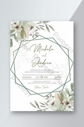 دعوة زفاف قابلة للطباعة مع قالب أوراق الشجر والزهور قالب PSD