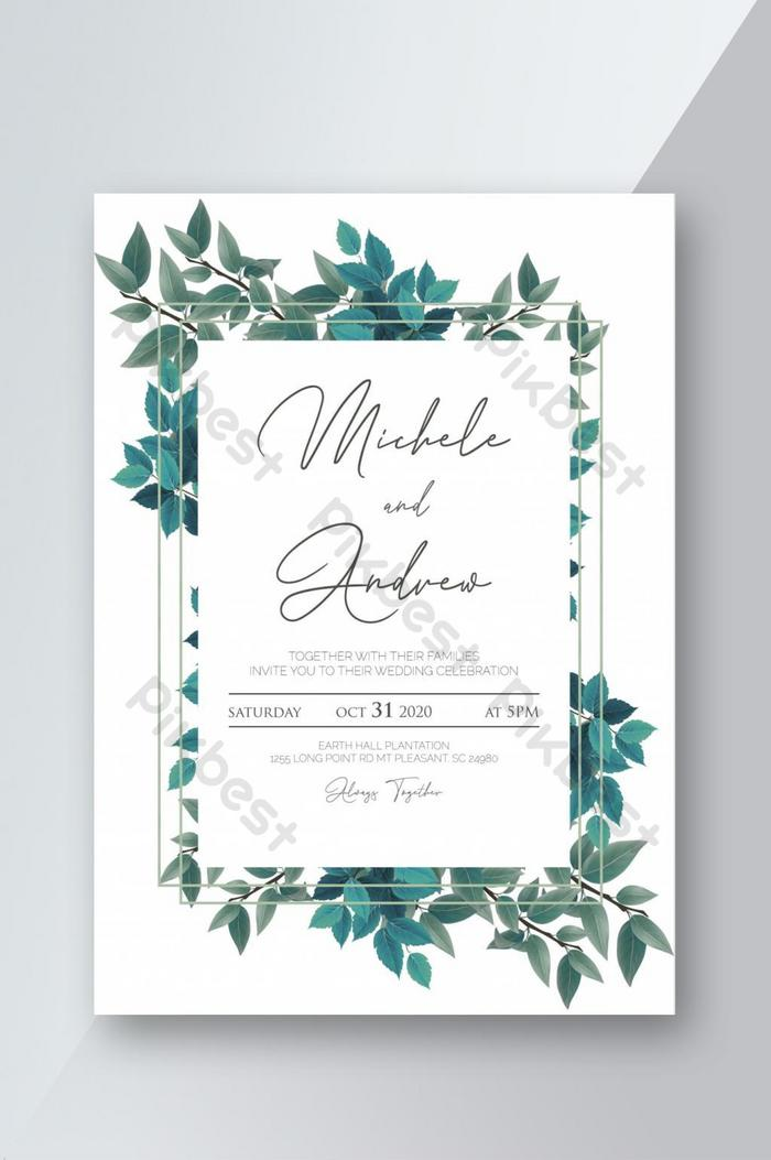 可打印樹葉婚禮請柬模板