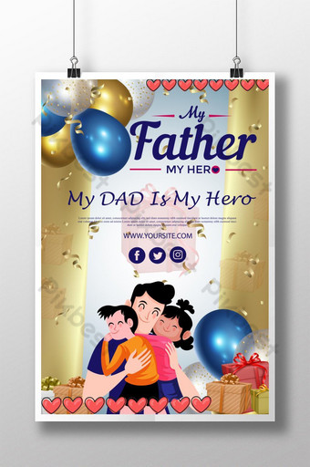Happy Father's Day Poster Design Template AI