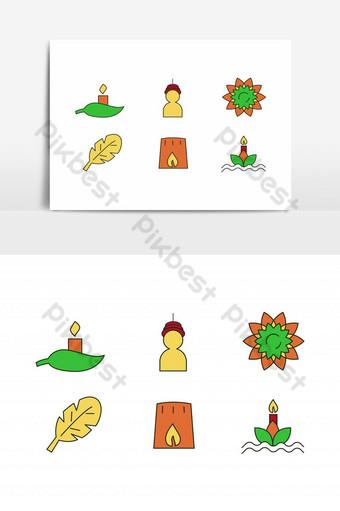 icono del festival de loi krathong conjunto de velas en la hoja tradicional vistiendo flor hoja Elementos graficos Modelo EPS