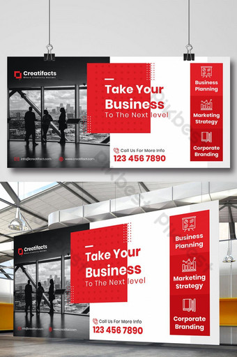 diseño de banner de señalización de vallas publicitarias modernas corporativas Modelo PSD