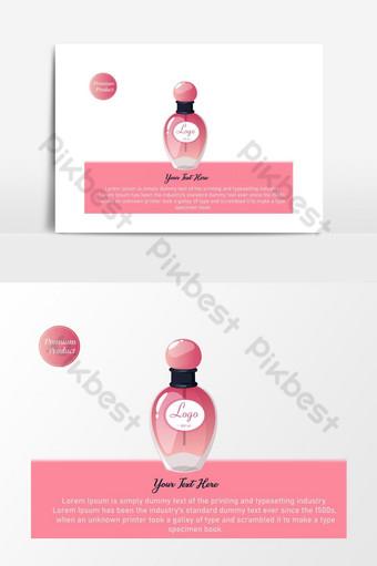 hermoso diseño gráfico de productos cosméticos banner publicitario de perfume rosa Elementos graficos Modelo EPS