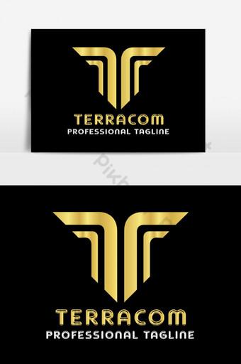 t diseño de logotipo de letra dorada Elementos graficos Modelo AI