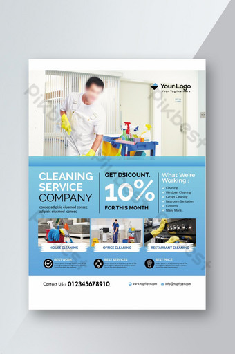 Printable Cleaning Service Promotion Flyer Template PSD