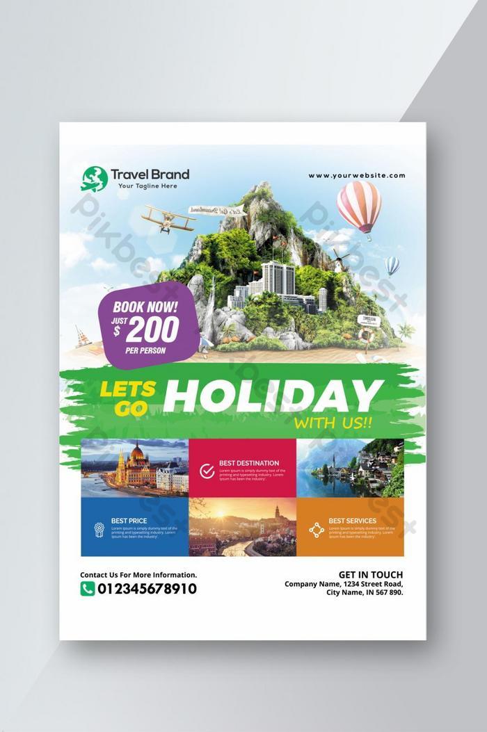 เทมเพลตการส่งเสริมการท่องเที่ยวและใบปลิวการเดินทางที่พิมพ์ได้