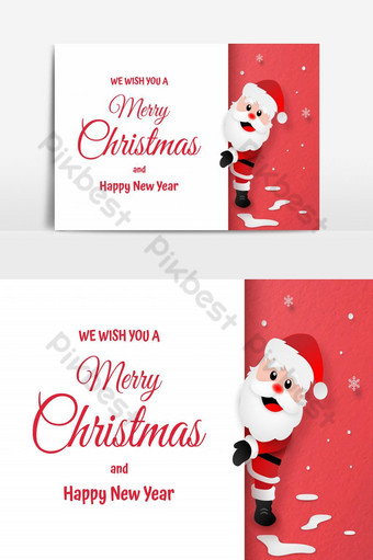 اوريغامي ورقة نمط الفن بطاقة بريدية من سانتا كلوز مع مساحة نسخة عيد ميلاد سعيد وسعيد صور PNG قالب EPS