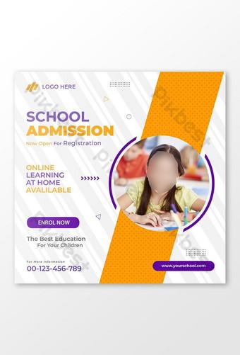 plantilla de diseño de banner de admisión escolar amp publicación de redes sociales Modelo EPS