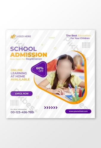 diseño de banner de admisión escolar amp publicación de redes sociales Modelo EPS