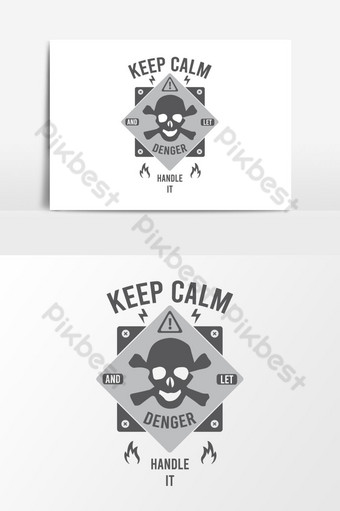 diseño de camiseta de vector de calavera de peligro creativo y de tendencia Elementos graficos Modelo AI