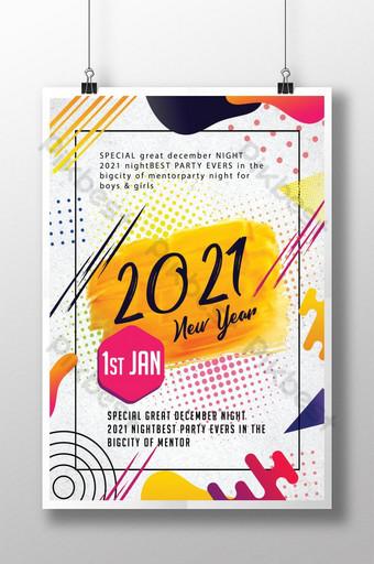 selamat tahun baru desain poster 2021 Templat PSD