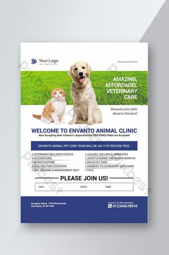 Modèle de Flyer de clinique pour animaux de compagnie imprimable Modèle facile à modifier Modèle PSD