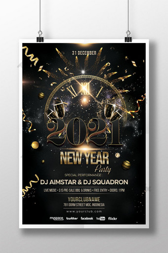 poster undangan tahun baru emas elegan 2021 Templat PSD