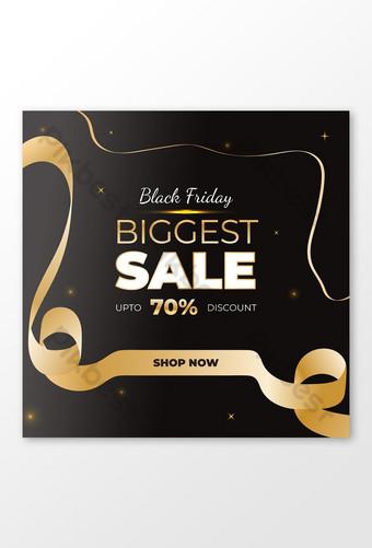 بيع الجمعة السوداء الحديثة الأنيقة الضخمة سوبر عرض تصميم خلفية لافتة ذهبية قالب AI