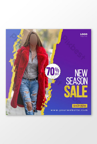New Season Fashion Sale Banner Social Media Post Template Trendy Design Template PSD