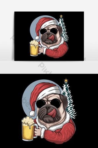 Cerveza de perro pug con un traje de santa para la ilustración de vector de Navidad Elementos graficos Modelo EPS