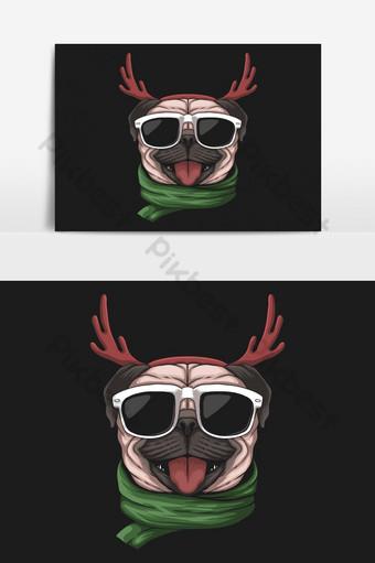 Perro pug con un gorro de Papá Noel para la ilustración de vector de Navidad Elementos graficos Modelo EPS