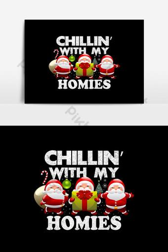 Diseño de camiseta de Navidad Funny Santa con camiseta de regalo Elementos graficos Modelo AI