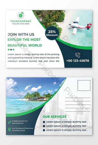 Conception de cartes postales de voyage dans Photoshop Modèle PSD