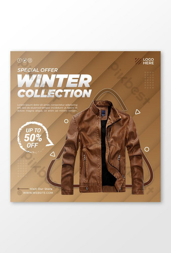 Modèle de publication de veste de vente d'hiver sur les médias sociaux Modèle PSD