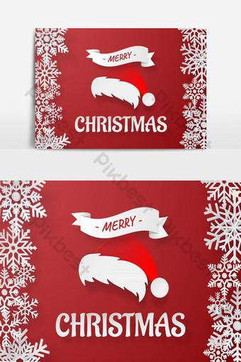Arte de papel origami de sombrero de Santa Claus con copo de nieve sobre fondo rojo Feliz Navidad un Elementos graficos Modelo EPS