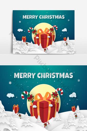Arte de papel origami de grandes regalos en bosque de pinos con nevadas Feliz Navidad Elementos graficos Modelo EPS