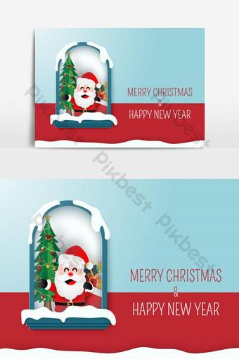 فن الورق اوريغامي سانتا كلوز في منزل مع شجرة عيد الميلاد عيد ميلاد سعيد صور PNG قالب EPS