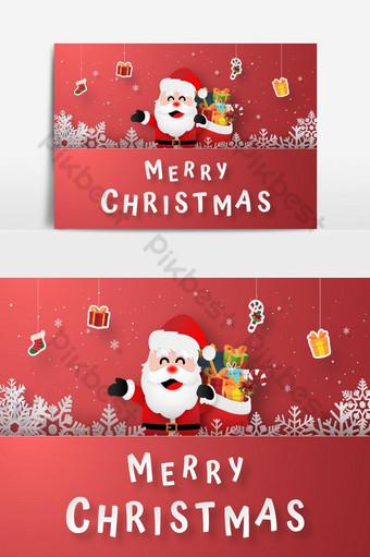 Art de papier origami du Père Noël avec des cadeaux suspendus sur la carte postale de Noël Joyeux Noël Éléments graphiques Modèle EPS
