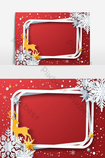 Arte de papel de marco de invierno con renos de copos de nieve sobre fondo rojo. Elementos graficos Modelo EPS