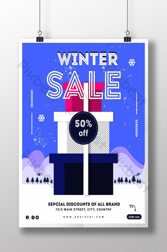 Modèle de Flyer d'affiche de vente d'hiver créative Modèle PSD