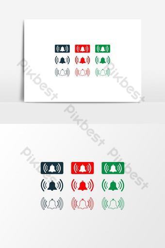 Icono de vector de botón de campana en elementos de diseño de color verde rojo para negocios Elementos graficos Modelo EPS