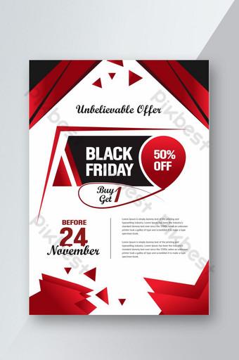 Modèle de conception de flyer rouge de réduction affiche vendredi noir Modèle AI