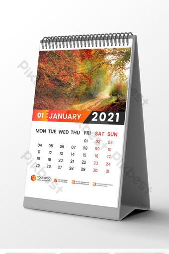 تقويم حائط 2021 قالب تصميم 12 شهرًا متضمنًا مكانًا للصورة والشعار قالب AI