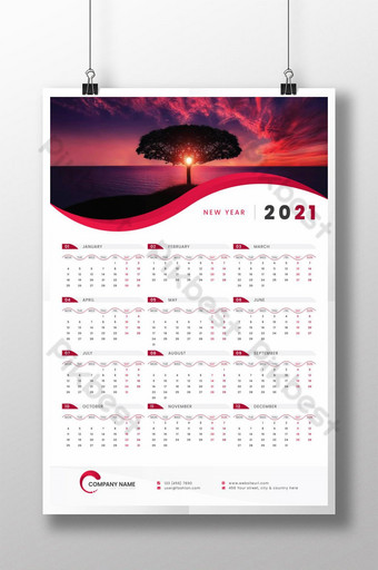 1-Page Wall Calendar 2021 Template design for any company or business service Template AI