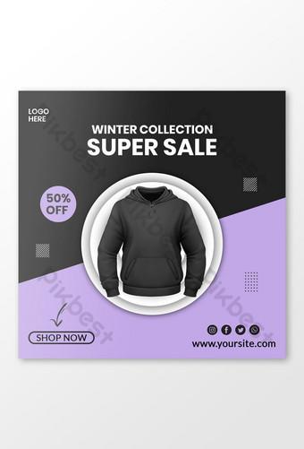 Collection hiver Super vente veste Modèles de publication Instagram sur les réseaux sociaux Modèle PSD