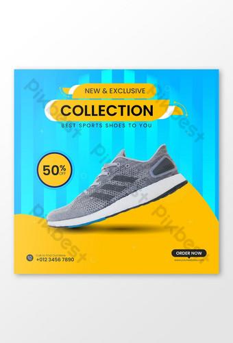 Plantilla de publicación de redes sociales de zapatillas para correr Modelo AI